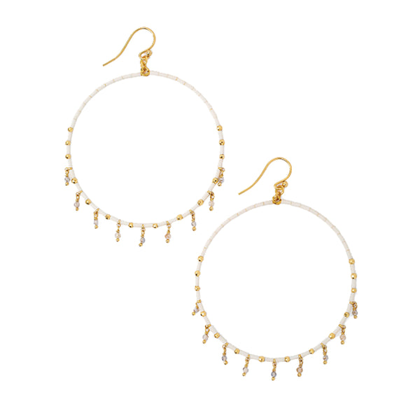 Chan Luu Gold Hoop Earrings in Cream Seed Beads with Labradorite Charms