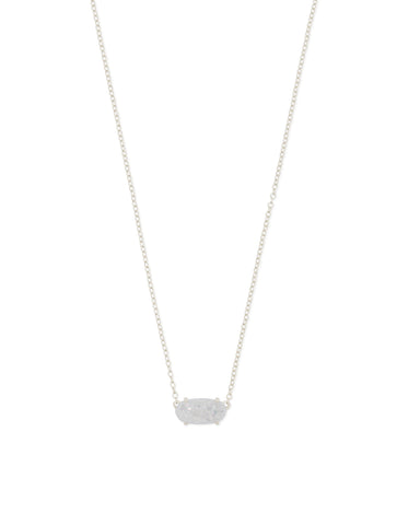 Kendra Scott Ever Oval Pendant Necklace in Iridescent Drusy and Rhodium