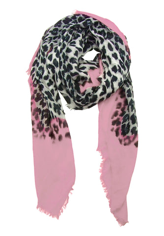 Blue Pacific Animal Print Cashmere Silk Scarf in Pink and Snow 78 x 22