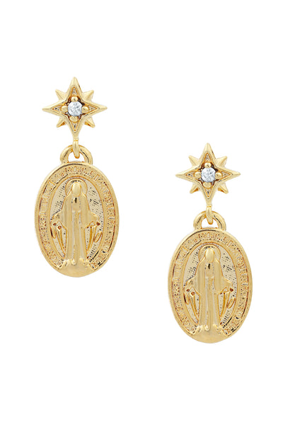 Five and Two Lucia Petite Saint Dangle Earrings in Clear CZ and 14k Gold Plated