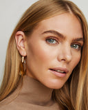 Model Wearing Kendra Scott Maize Dangle Earrings In Smoky Glass and Rose Gold Plated