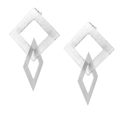 Sheila Fajl Boone Double Square Dangle Earrings in Silver Plated