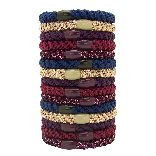 image of stacked L. Erickson Grab and Go Pony Tube Hair Ties in Bejeweled 15 Pack