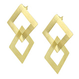 image of slightly angled Sheila Fajl Boone Double Square Dangle Earrings in Gold Plated