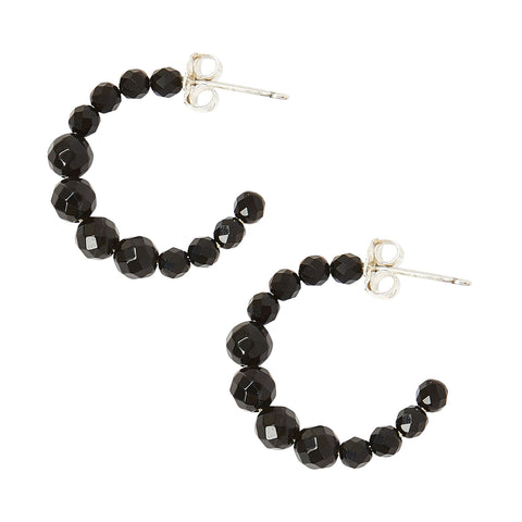 Chan Luu Graduated Stone Small Hoop Earrings in Onyx and Silver