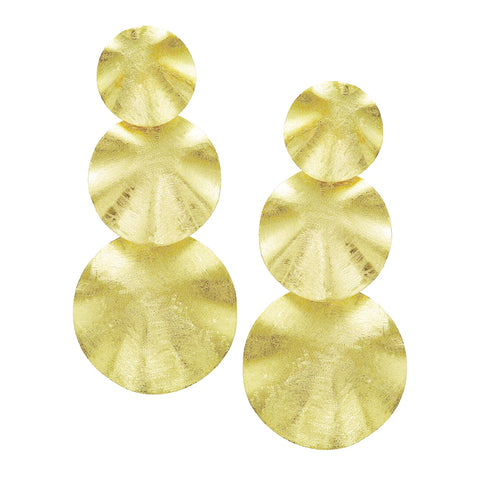 Sheila Fajl Isadora Triple Wavy Disk Statement Earrings in Gold
