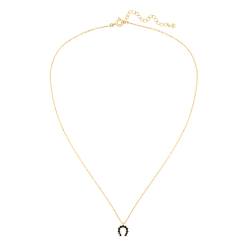 Five and Two Hazel Horseshoe Charm Pendant Necklace in Black CZ and Gold