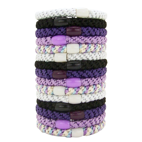 image of L. Erickson Grab and Go Pony Tube Hair Ties in Ultra Violet 15 Pack