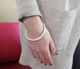 Sheila Fajl Thin Tubular Bangle Bracelet in Silver