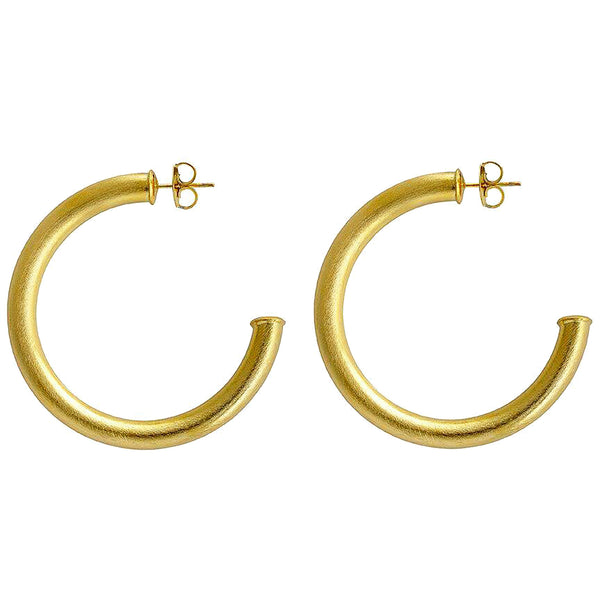 Sheila Fajl 2 inch Thick Smaller Arlene Hoop Earrings in Brushed Gold Plated