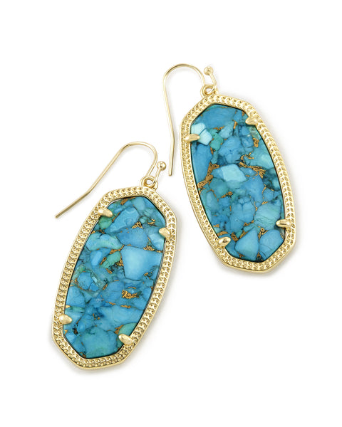 Kendra Scott Elle Dangle Earrings in Bronze Veined Turquoise and Gold