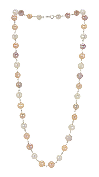 InStyle 26 Inch Strand Choker Pearl Necklace in Cream Peach Pink Lilac