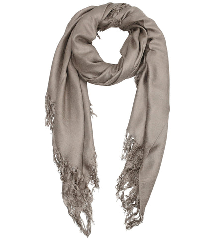 Blue Pacific Tissue Solid Modal and Cashmere Scarf Shawl in Khaki