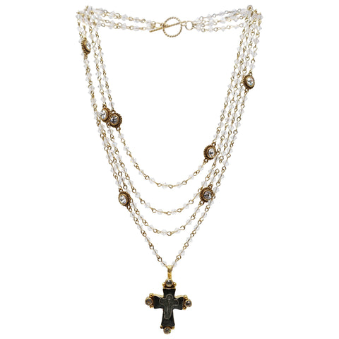 VSA Maria Cross Magdalena Necklace in Gold and Bicone Clear Crystal