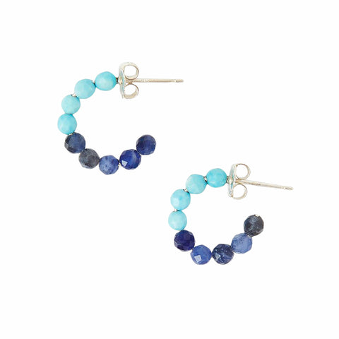 Chan Luu Color Block Stone Huggie Hoop Earrings in Turquoise and Sodalite