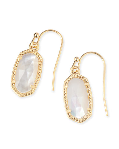 Kendra Scott Lee Oval Drop Earrings in Ivory Pearl and Gold