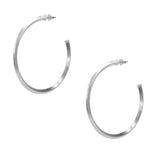 Pair of Sheila Fajl Celine Pyramid Hoop Earrings in Silver Plated