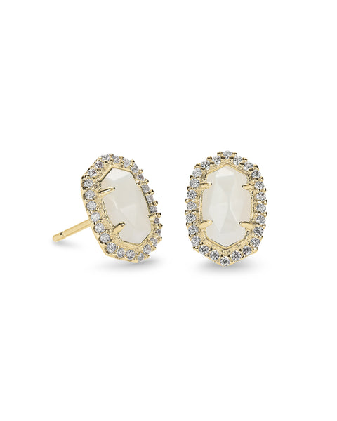 Pair of Kendra Scott Cade Stud Earrings in White CZ and Gold Plated