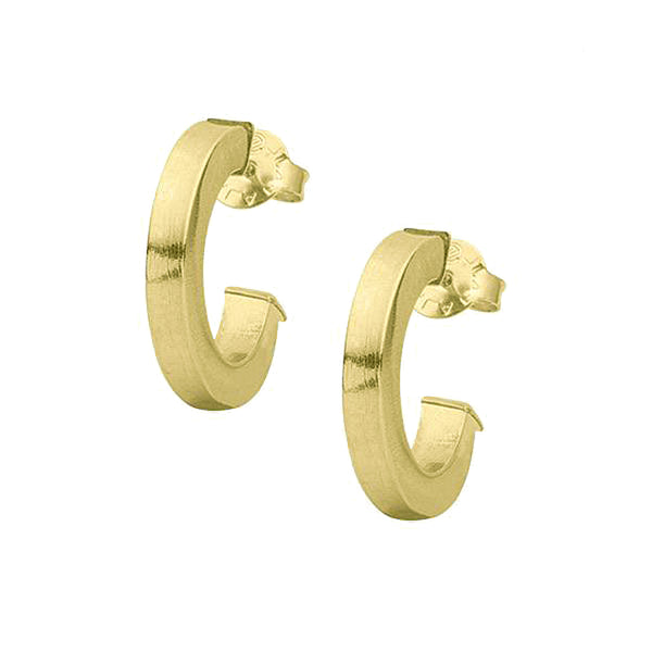 Sheila Fajl Bianca Petite Square Styled Hoop Earrings in Brushed Gold Plated