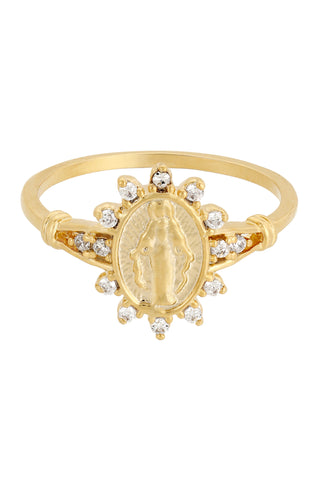 Five and Two Morena Saint Medallion Ring in CZ and 14k Gold Plated in Size 6