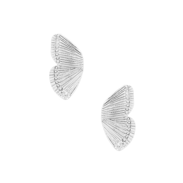 Five and Two Dani Stud Butterfly Wing Earrings in Silver Plated