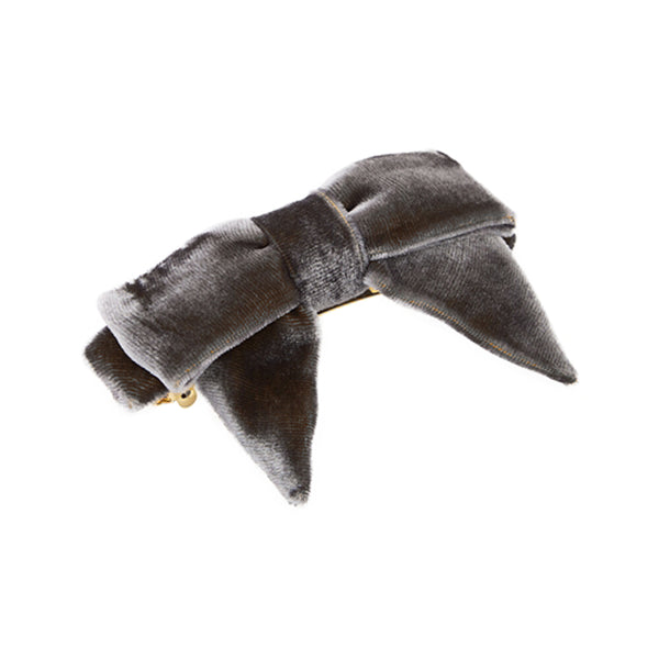 L. Erickson Square Bow Barrette in Dark Grey Velvet and Gold Tone