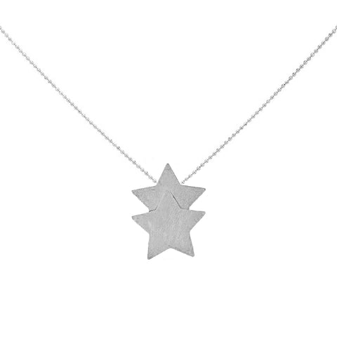 Sheila Fajl Castor Double Star Pendant Necklace in Silver Plated