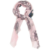 Primary Rolled Blue Pacific Frida Sugar Grey Skull Bandana Scarf in Heavenly Light Pink