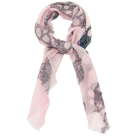 Blue Pacific Cashmere Silk Frida Sugar Skull Scarf in Heavenly Pink