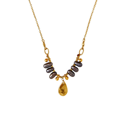 Chan Luu Dangling Pearl Pendant Necklace in Peacock Grey and Gold