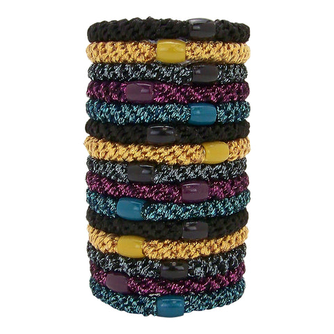L.Erickson Grab and Go Pony Tube Hair Ties in Jewel Metallic 15 Pack