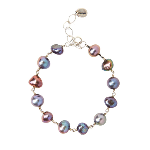 Chan Luu Chain Freshwater Pearl Bracelet in Peacock and Silver