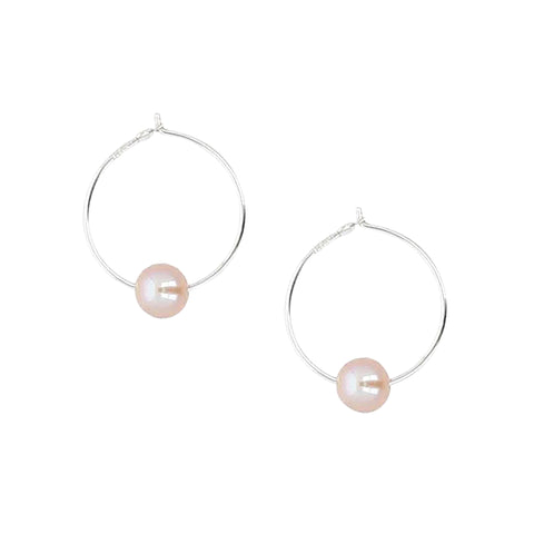 Chan Luu Petite Silver Hoop Earrings with Pink Pearl