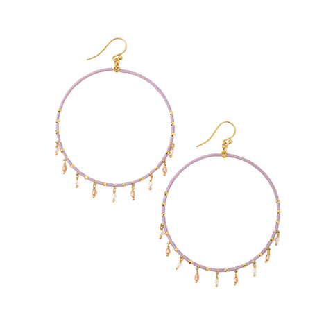 Chan Luu Gold Hoop Earrings in Mauve Seed Beads with Pearl Charms