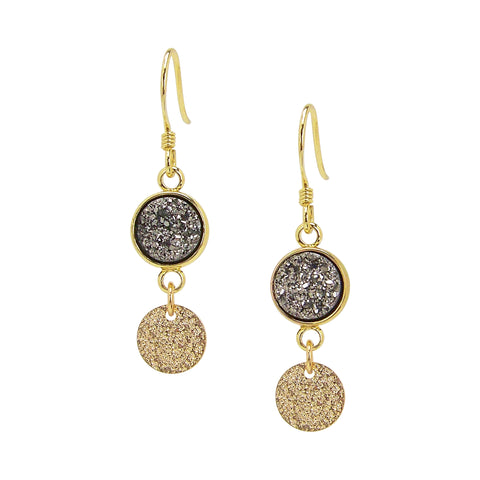 Charlene K Gray Druzy Dangle Earrings with Gold Vermeil Disc