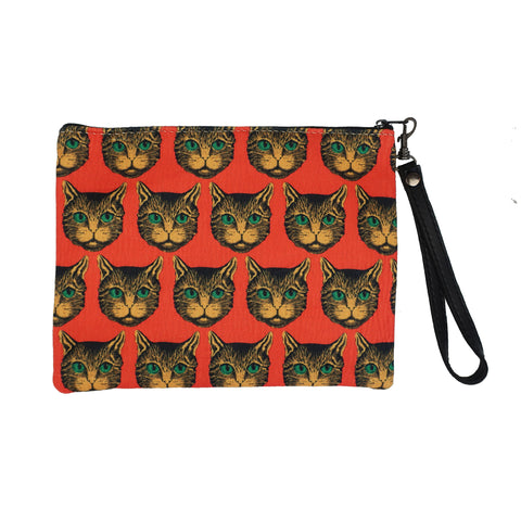 Blue Pacific Vegan Leather Wristlet Clutch with Wrist Strap in Pop Art Kitties Print