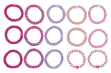overhead image for L.Erickson Grab and Go Pony Tube Hair Ties in Flora 15 Pack