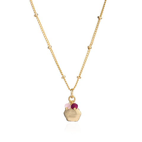 Azuni London Alaya Charm Necklace in Red Jade and Pink Quartz in Gold