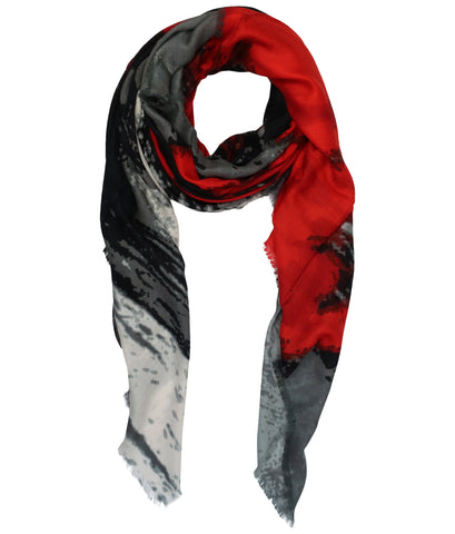 Blue Pacific Modal and Cashmere Scarf in Watercolor Crimson Red and Gray