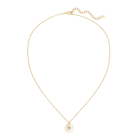 Five and Two Arie Pearl and Star Pendant Necklace in Clear CZ and Gold