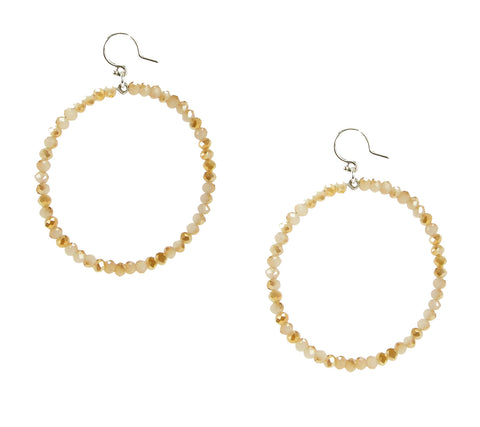 Chan Luu 2.25 Inch Silver Hoop Earrings in Champagne Crystals