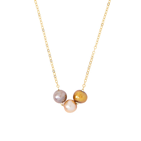Chan Luu Pearl Trinity Pendant Necklace in Champagne Mix and Gold