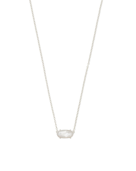 Detail View of Kendra Scott Ever Oval Pendant Necklace in Ivory and Rhodium Plated