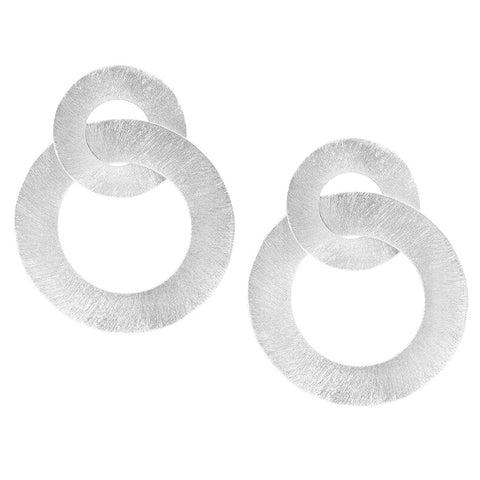 Sheila Fajl Anna Double Hoop Circle Earrings in Brushed Silver Plated