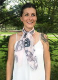 Model Wearing Blue Pacific Frida Sugar Grey Skull Bandana Scarf in Heavenly Light Pink
