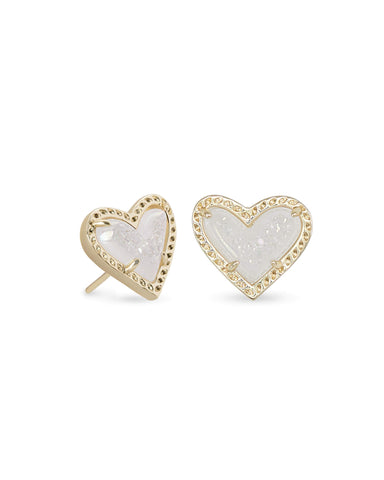 Kendra Scott Ari Heart Stud Earrings in Iridescent Drusy and Gold