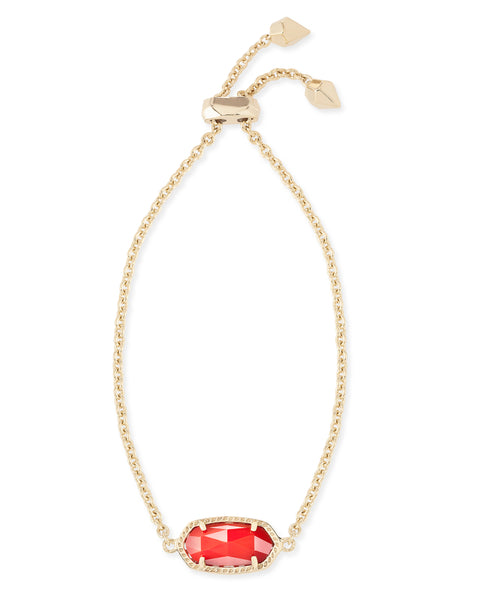Full View of Kendra Scott Elaina Chain Bracelet in Bright Red and Gold Plated