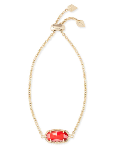 Kendra Scott Elaina Chain Bracelet in Oval Bright Red and Gold