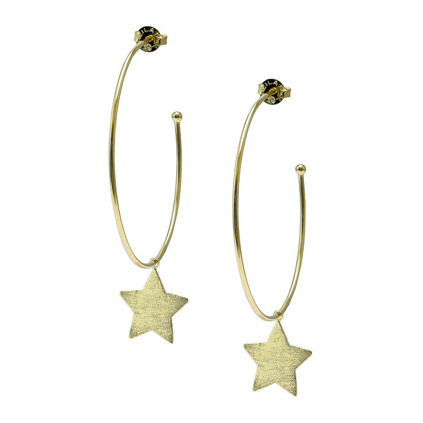 image of Sheila Fajl Phoenix Hoop Earrings with Star Charm in Gold Plated