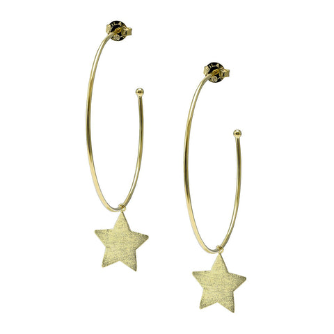 Sheila Fajl Phoenix Hoop Earrings with Star Charm in Gold Plated
